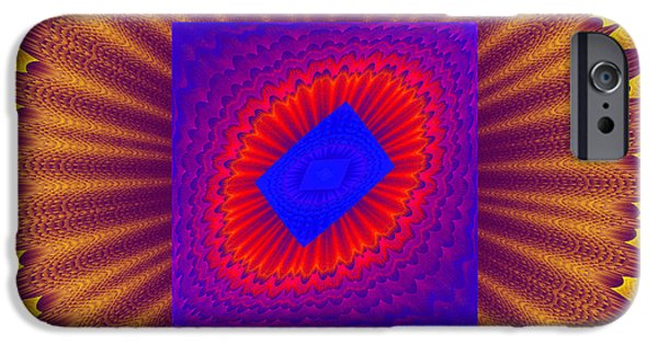 Round iPhone Cases - Psychedelic Spiral Vortex Yellow Blue And Red Fractal Flame iPhone Case by Keith Webber Jr