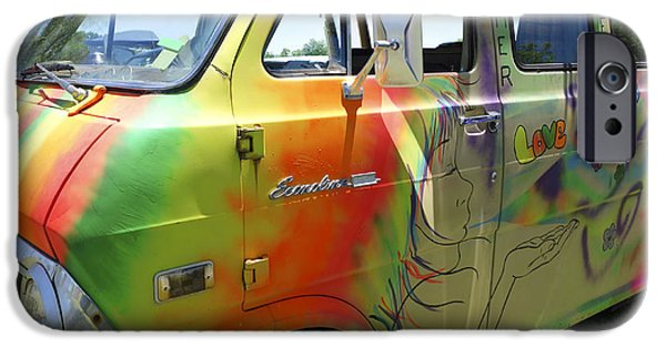 Psychedelic Photographs iPhone Cases - Psychedelic Van Summer of Love iPhone Case by Ann Powell