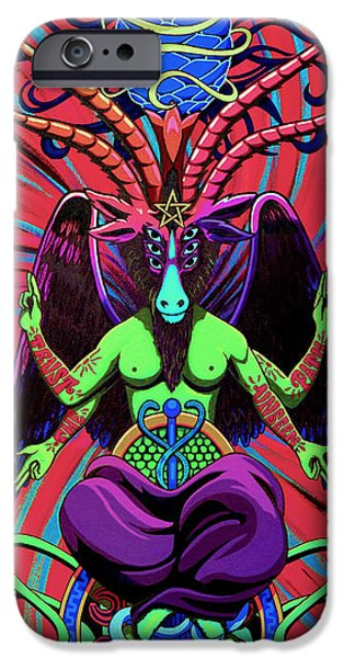 Lucifer iPhone Cases - Psychtanic Baphodelic Super Goat on DMT iPhone Case by Steve Hartwell