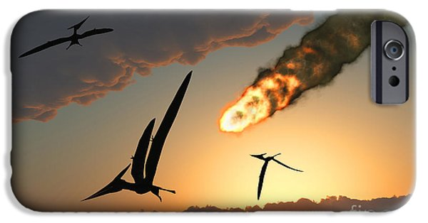 Wildlife Disasters iPhone Cases - Pteranodons In Flight, Unaware iPhone Case by Mark Stevenson