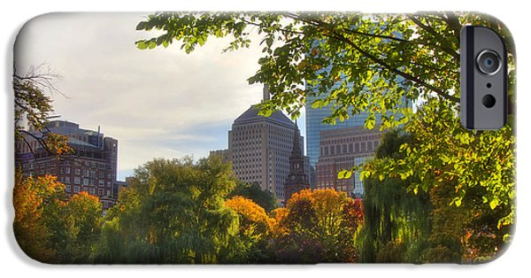 Massachusetts Autumn Scenes iPhone Cases - Public Garden Skyline iPhone Case by Joann Vitali