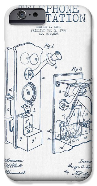 Calling iPhone Cases - Public Telephone Patent Drawing From 1907  - Blue Ink iPhone Case by Aged Pixel