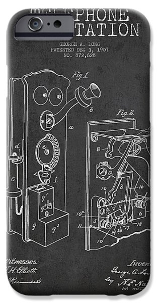 Calling iPhone Cases - Public Telephone Patent Drawing From 1907 - Dark iPhone Case by Aged Pixel