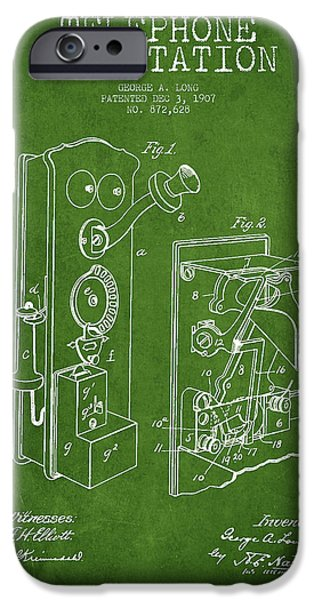 Telephone iPhone Cases - Public Telephone Patent Drawing From 1907 - Green iPhone Case by Aged Pixel