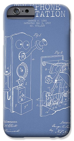 Calling iPhone Cases - Public Telephone Patent Drawing From 1907 - Light blue iPhone Case by Aged Pixel