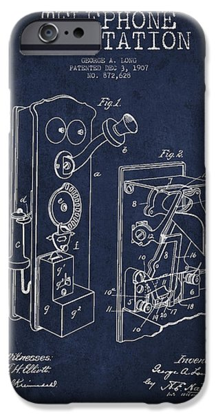 Calling iPhone Cases - Public Telephone Patent Drawing From 1907 - Navy Blue iPhone Case by Aged Pixel