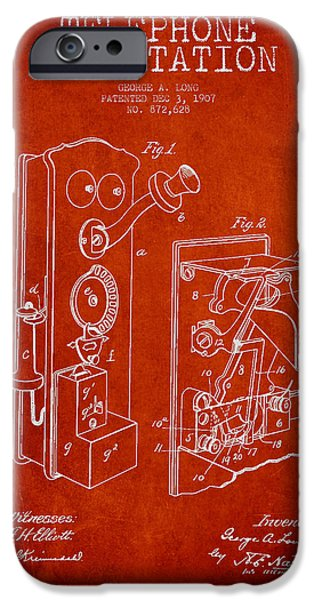 Calling iPhone Cases - Public Telephone Patent Drawing From 1907 - Red iPhone Case by Aged Pixel