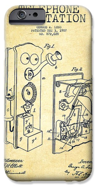 Calling iPhone Cases - Public Telephone Patent Drawing From 1907 - Vintage iPhone Case by Aged Pixel