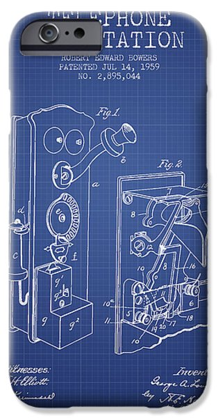 Telephone iPhone Cases - Public Telephone Patent From 1907 - Blueprint iPhone Case by Aged Pixel