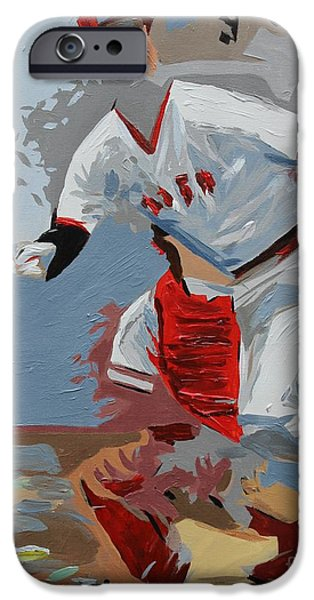 Red Sox Paintings iPhone Cases - Pudge  Carlton Fisk iPhone Case by Steven Dopka