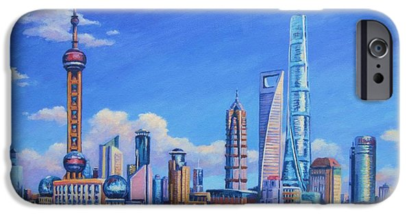 Hong Kong Paintings iPhone Cases - Pudong Skyline  Shanghai iPhone Case by John Clark