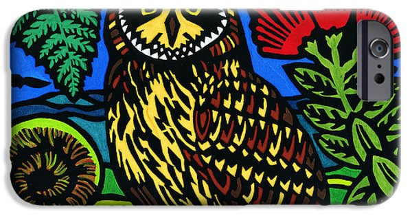 Lino Cut iPhone Cases - Pueo Mana iPhone Case by Lisa Greig