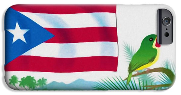 Concept Paintings iPhone Cases - Puerto Rico Flag iPhone Case by Lanjee Chee