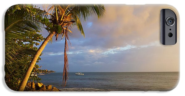 Rincon Beach iPhone Cases - Puerto Rico Palm Lined Beach With Boat At Sunset iPhone Case by Jo Ann Tomaselli