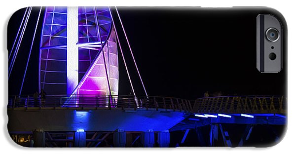 Night Lamp iPhone Cases - Puerto Vallarta Pier iPhone Case by Aged Pixel