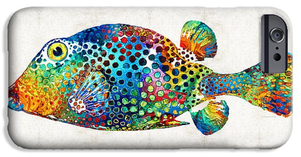 Recently Sold -  - Sea iPhone Cases - Puffer Fish Art - Puff Love - By Sharon Cummings iPhone Case by Sharon Cummings