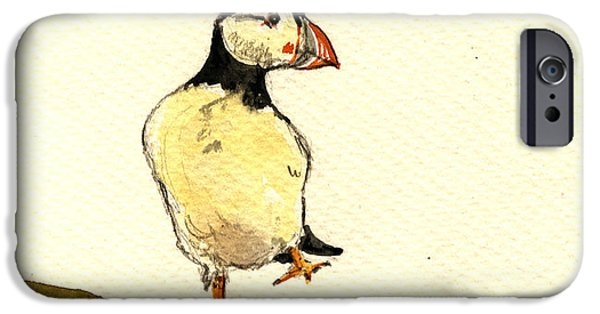 Seabird iPhone Cases - Puffin bird iPhone Case by Juan  Bosco