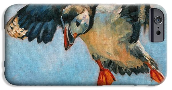 David iPhone Cases - Puffin iPhone Case by David Stribbling