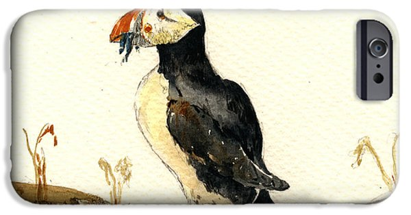 Seabird iPhone Cases - Puffin with fishes iPhone Case by Juan  Bosco