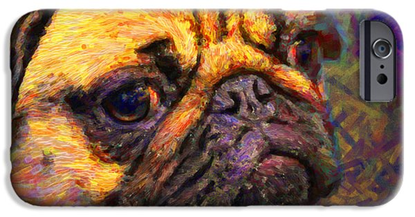 Puppy Digital Art iPhone Cases - Pug 20130126v1 iPhone Case by Wingsdomain Art and Photography