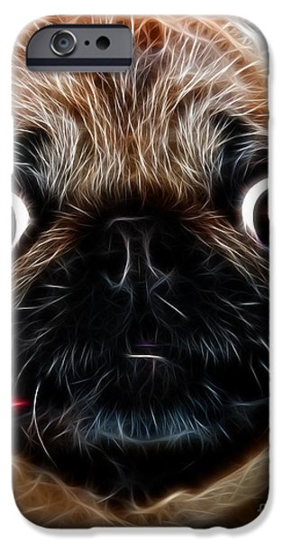 Pug Dog - Electric iPhone Case by Wingsdomain Art and Photography