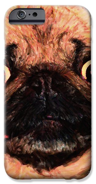 Puppy Digital Art iPhone Cases - Pug Dog - Painterly iPhone Case by Wingsdomain Art and Photography