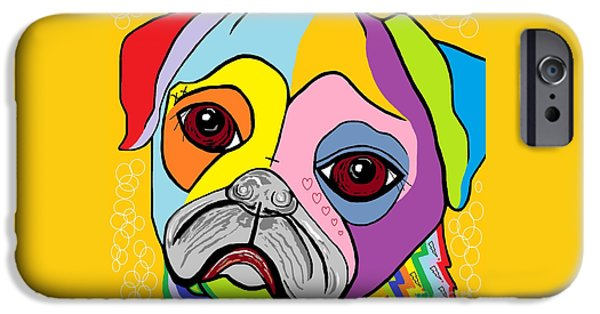 Puppies Digital Art iPhone Cases - Pug iPhone Case by Eloise Schneider