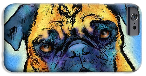 Puppy Digital iPhone Cases - Pug iPhone Case by Marlene Watson