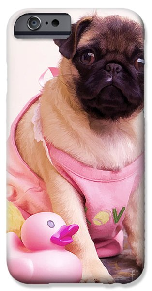 Puppy Digital Art iPhone Cases - Pug Puppy Bath Time iPhone Case by Edward Fielding