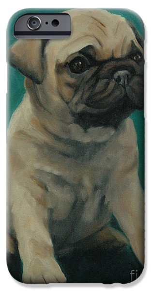 Puppies iPhone Cases - Pug Puppy iPhone Case by Pet Whimsy  Portraits