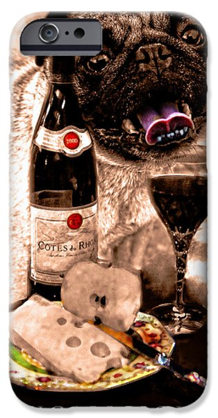 Table Wine iPhone Cases - Pugalicious 2 iPhone Case by Madeline Ellis