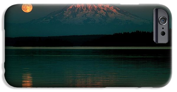 Moonscape iPhone Cases - Puget Sound Moonrise iPhone Case by Benjamin Yeager