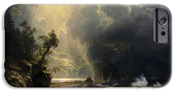 Painter Photographs iPhone Cases - Puget Sound on the Pacific Coast iPhone Case by Albert Bierstadt