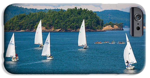 Sailboat Ocean iPhone Cases - Puget Sound Sailboats iPhone Case by Inge Johnsson