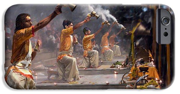 Figure iPhone Cases - Pujaris priests performing Aratika worship iPhone Case by Dominique Amendola