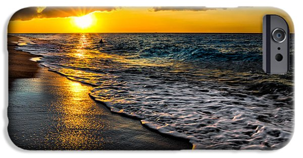 Sun Rays Digital iPhone Cases - Puka Beach Sunset iPhone Case by Adrian Evans