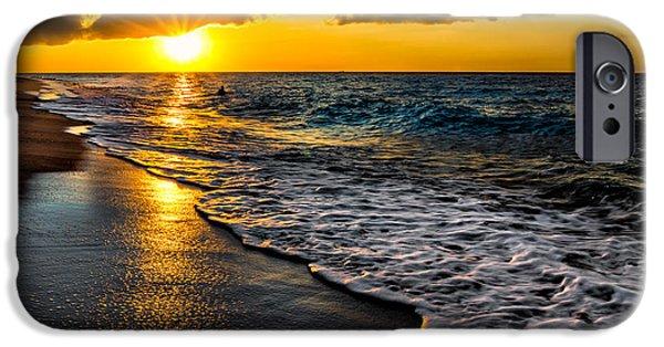 Sun Rays Digital Art iPhone Cases - Puka Beach Sunset iPhone Case by Adrian Evans