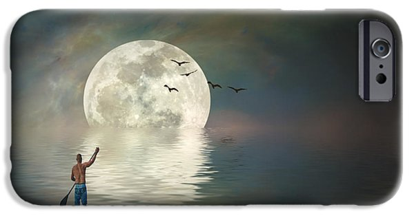 Sea Moon Full Moon iPhone Cases - Pull of the Moon iPhone Case by Stephen Warren