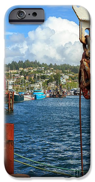 Pulley iPhone Cases - Pulley Cables And Boats iPhone Case by James Eddy