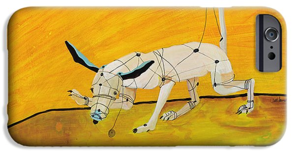 Dog And Toy iPhone Cases - Pulling My Own Strings iPhone Case by Pat Saunders-White