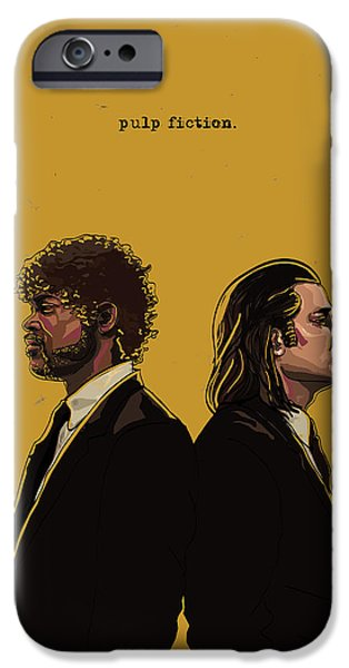 Modern Digital Art iPhone Cases - Pulp Fiction iPhone Case by Jeremy Scott