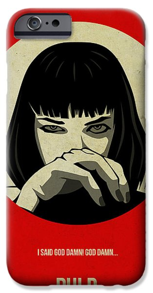 Tv Show iPhone Cases - Pulp Fiction Poster iPhone Case by Naxart Studio