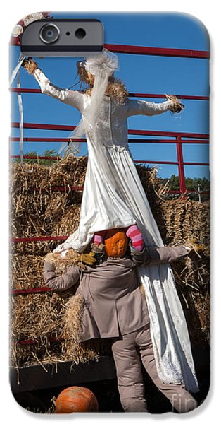 Commercial Photography iPhone Cases - Pumpkin Bride and Groom iPhone Case by Iris Richardson