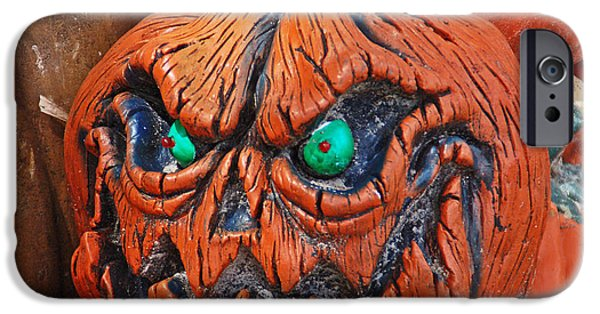 Creepy iPhone Cases - Pumpkin Face iPhone Case by Aimee L Maher Photography and Art