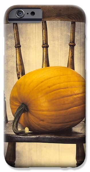 Gourd iPhone Cases - Pumpkin On Chair iPhone Case by Amanda And Christopher Elwell