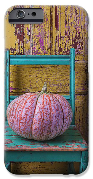Chip iPhone Cases - Pumpkin On Green Chair iPhone Case by Garry Gay