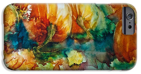 Invitations Paintings iPhone Cases - Pumpkin Patch iPhone Case by Jani Freimann