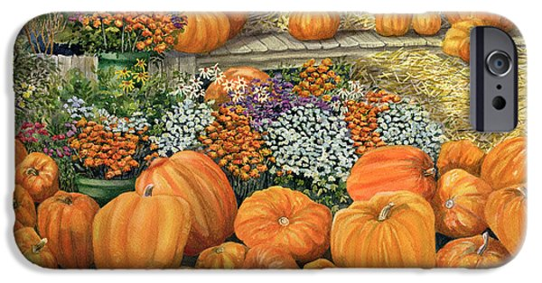 Jack O Lantern iPhone Cases - Pumpkin Patch iPhone Case by Karen Wright