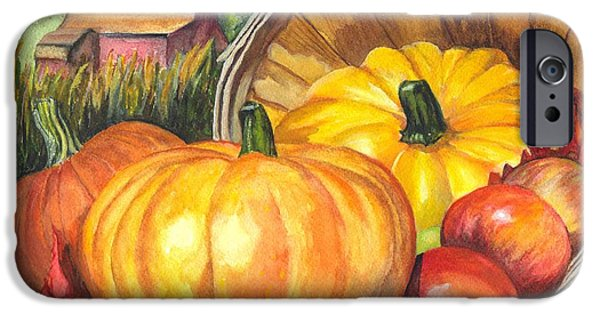 Joyful Drawings iPhone Cases - Pumpkin Pickin iPhone Case by Carol Wisniewski