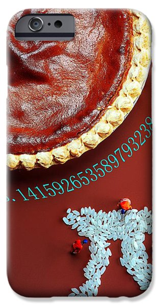 3.14 iPhone Cases - Pumpkin Pie and Pi food physics iPhone Case by Paul Ge